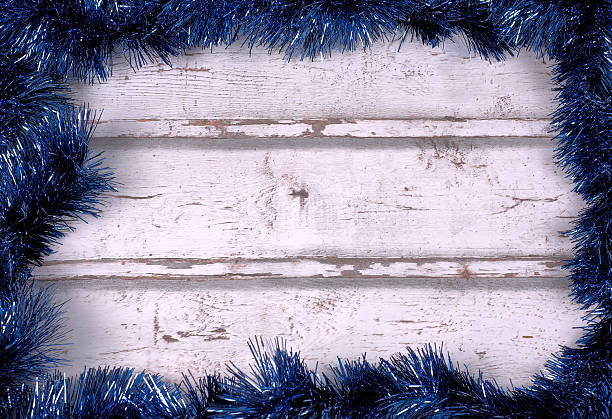 frame background with blue tinsel garlands stock photo