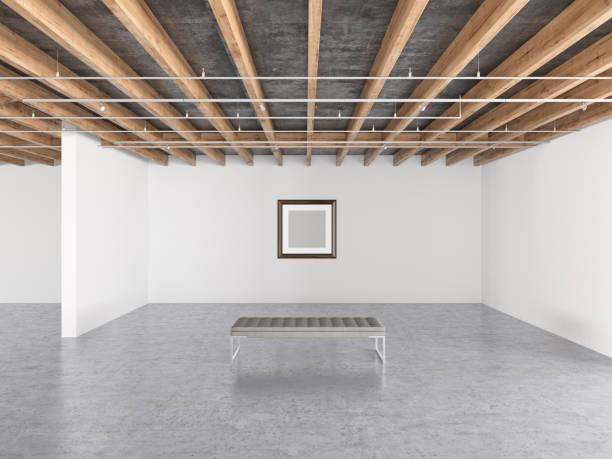 art blanc cadre dans la galerie - show room photos et images de collection