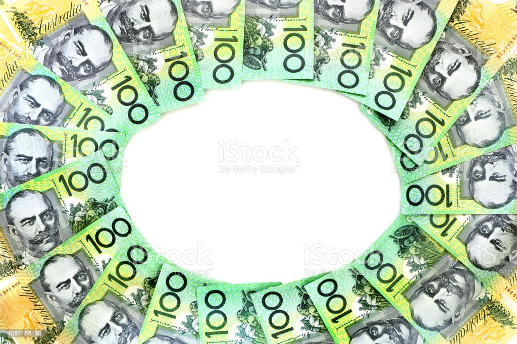 Frame circle of 100 dollar Australian notes group on white background have copy space for put text stock photo