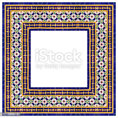 istock Frame composition of typical maroccan wall decorations with colored ceramic tiles called azulejos with a geometric design - concept image with copy space 1213866197