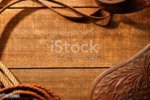 Barn wood framed by lariat,saddle flap, and leather riding tack on a weathered wood surface.