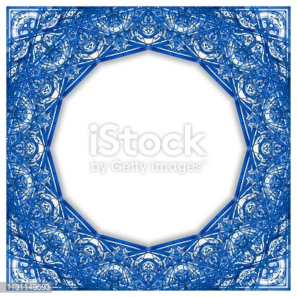 istock Frame design inspired by a typical Portuguese decorations with colored ceramic tiles called azulejos - concept image with copy space 1131149593