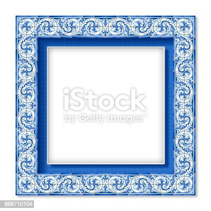 istock Frame design with typical portuguese decorations called