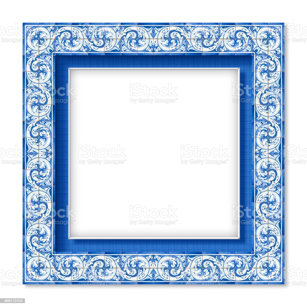 Frame design with typical portuguese decorations called 'azulejos' - fotografia de stock