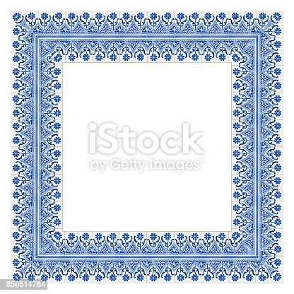 istock Frame design with typical portuguese decorations with colored ceramic tiles called