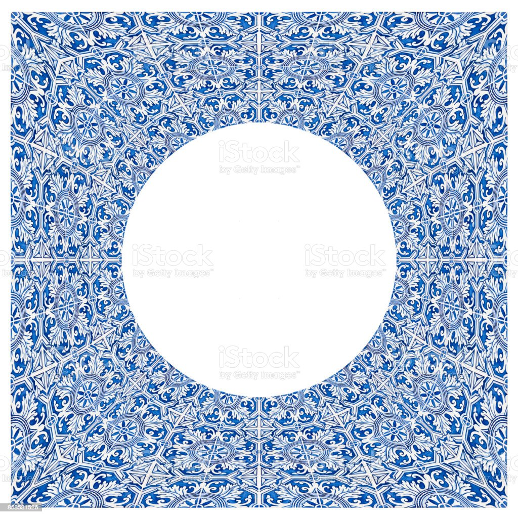 Frame design with typical portuguese decorations with colored ceramic tiles called 'azulejos' - high resolution image on white background for easy selection - concept image in a circular shape - fotografia de stock