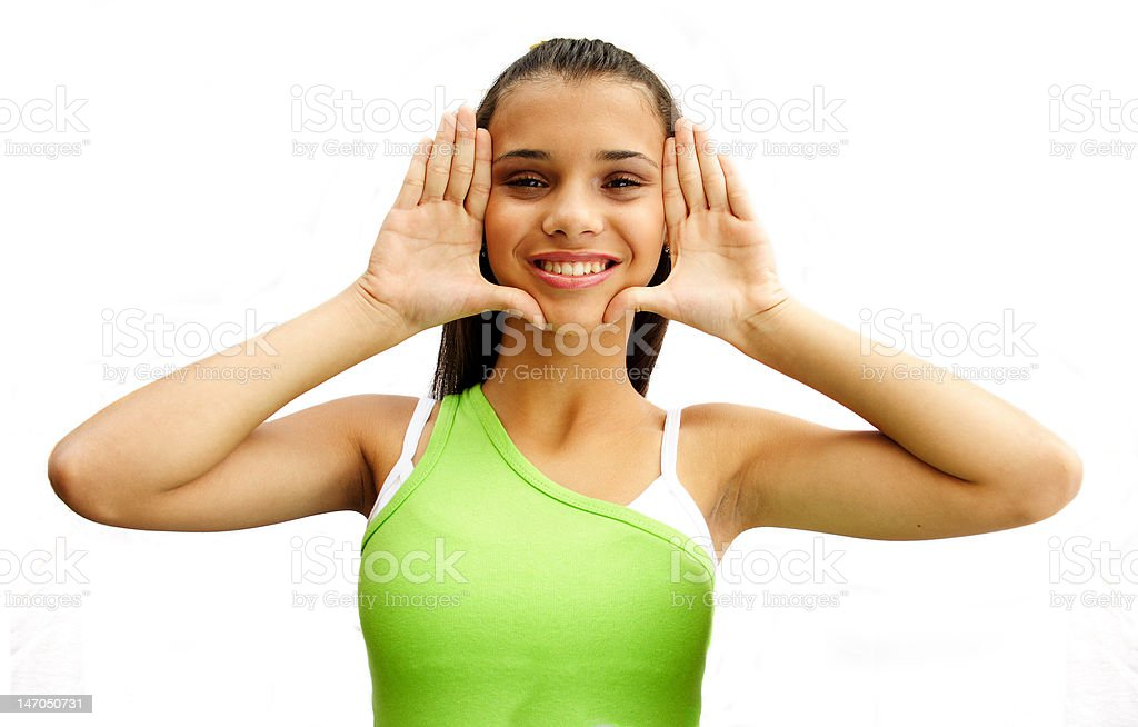 Frame face with hands royalty-free stock photo