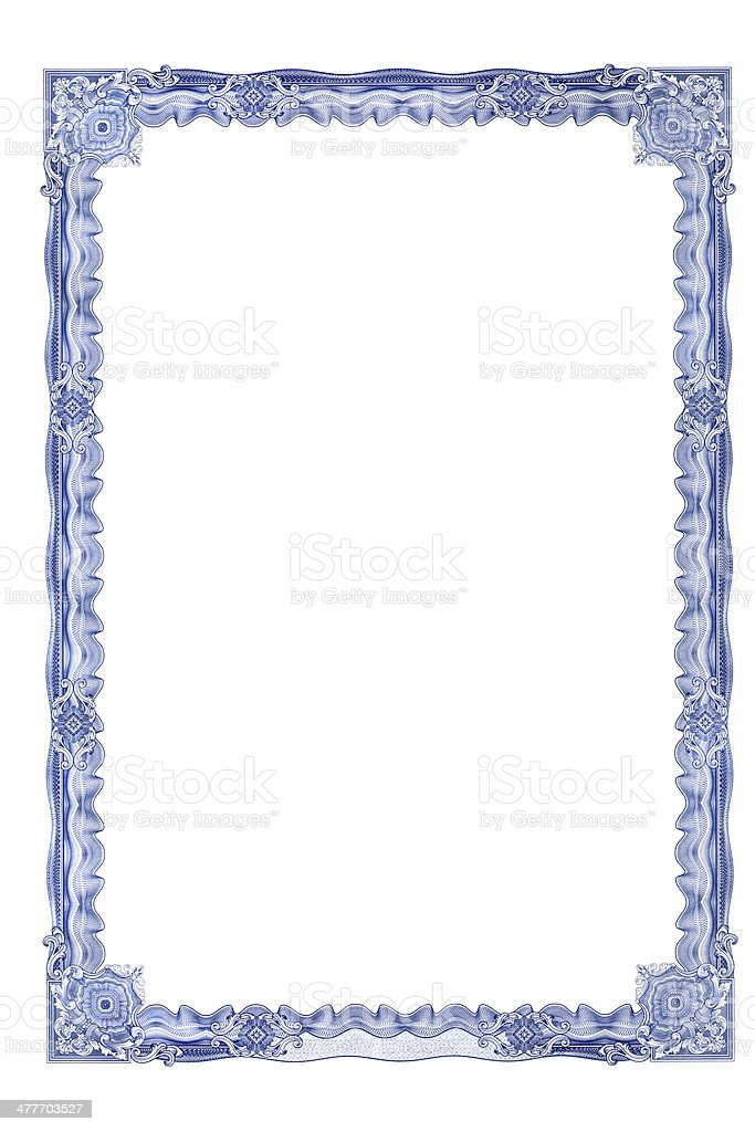 Frame for certificate stock photo