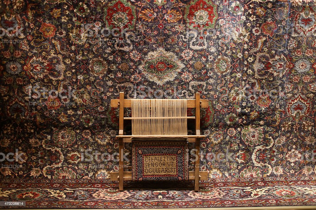 frame for making a turkish carpet with naturally dyed wool with...