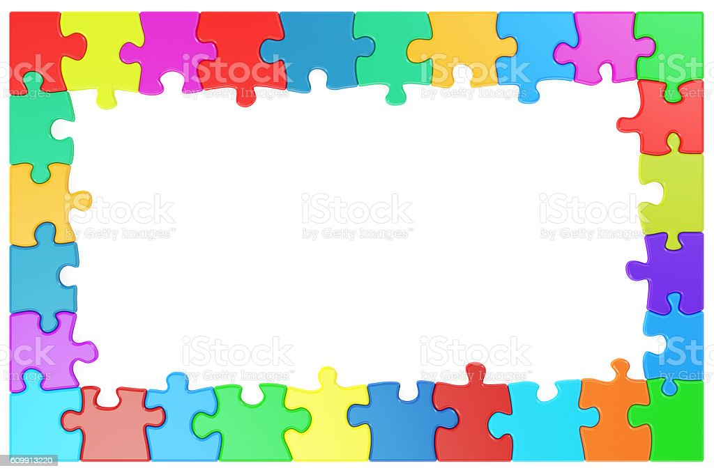 Frame from colored puzzle pieces, 3D rendering stock photo
