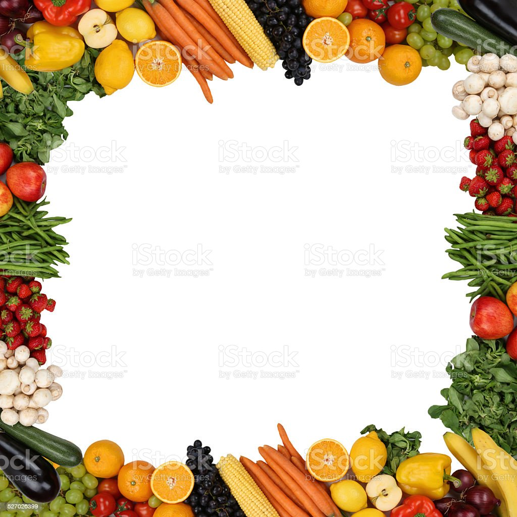 Frame from fruits and vegetables isolated with copyspace stock photo