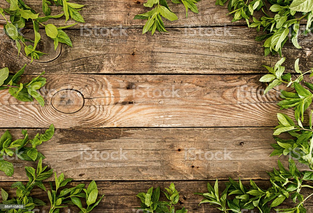 Frame from mint over on old wooden background. Rustic style. Copy space royalty-free stock photo