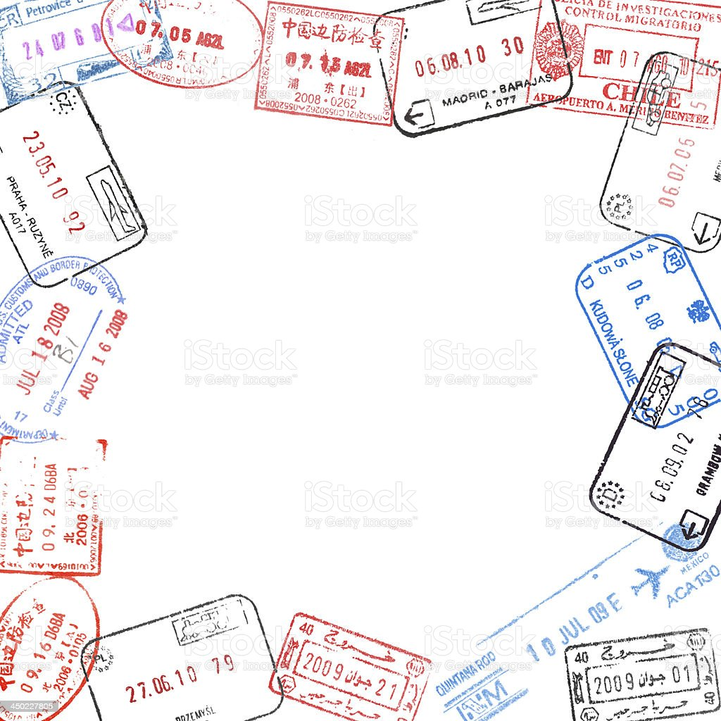 frame from passport visa stamps royalty-free stock photo