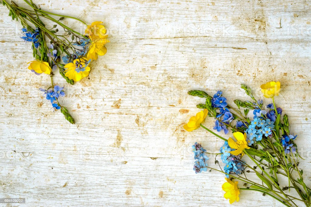 Frame From Two Small Bouquets Of Wild Flowers Buttercup And Forget ...