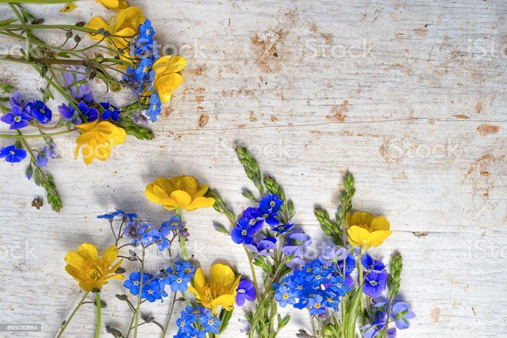 Rahmen Aus Zwei Kleine Blumensträuße Von Wilden Blumen Hahnenfuß Und ...