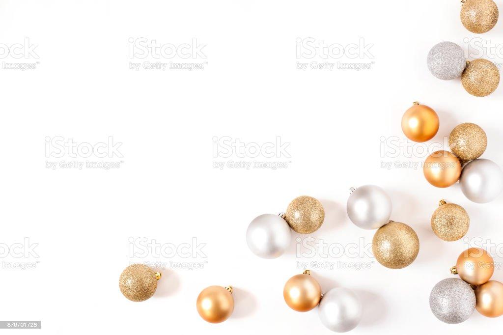 Rahmen Sie Golden Und Silber Kugeln Top Blick Weißen Hintergrund ...