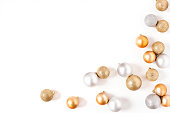 Frame Golden and Silver Balls Top view White Background Christmas New Year