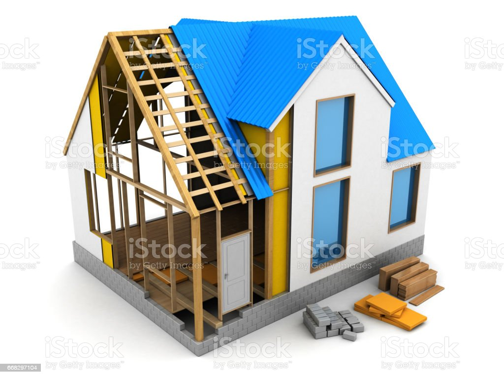 frame house construction stock photo