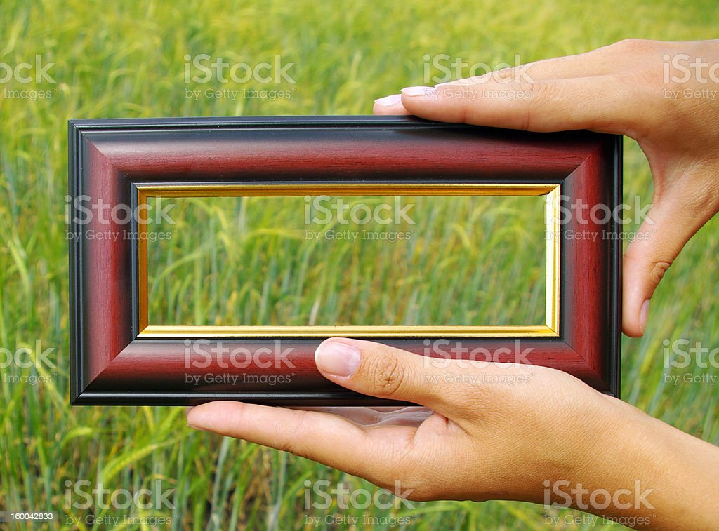 Frame in hands on the background of green royalty-free stock photo