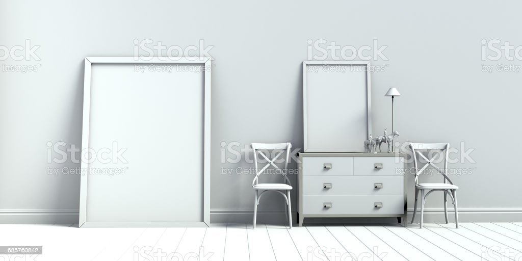 frame in vintage room and armchair 3d render foto stock royalty-free