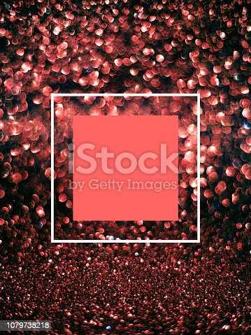 istock Frame Living Coral color on glitter bokeh & sparkles vertical bright background. 1079738218
