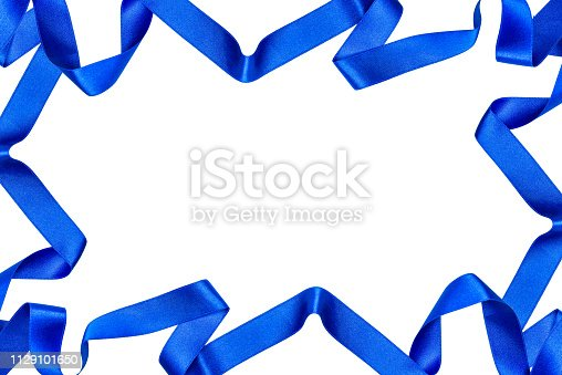 istock Frame made from blue satin ribbons isolated on white background with clipping path and copy space in the middle. 1129101650