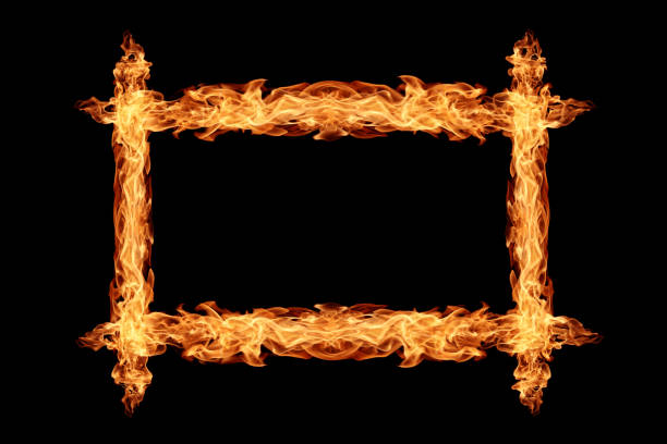 Cтоковое фото Frame made from fire flame on black background