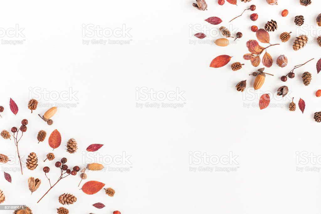 Frame made of autumn things. Flat lay, top view - foto stock