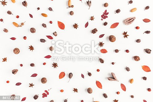 istock Frame made of autumn things. Flat lay, top view 841235282