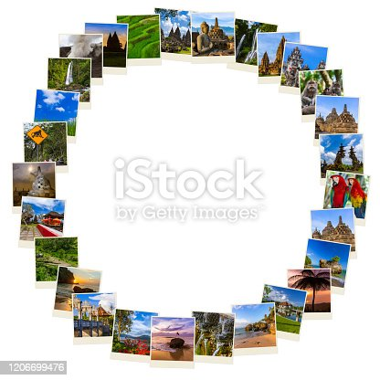 Frame made of Bali Indonesia images - architecture and travel background (my photos)