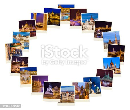 Frame made of Budapest Hungary travel images - architecture background (my photos)