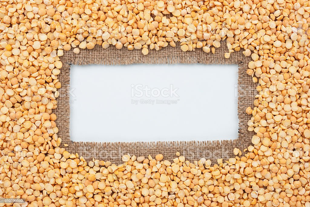 Frame Made Of Burlap And Pea Grains Stock Photo & More Pictures of ...