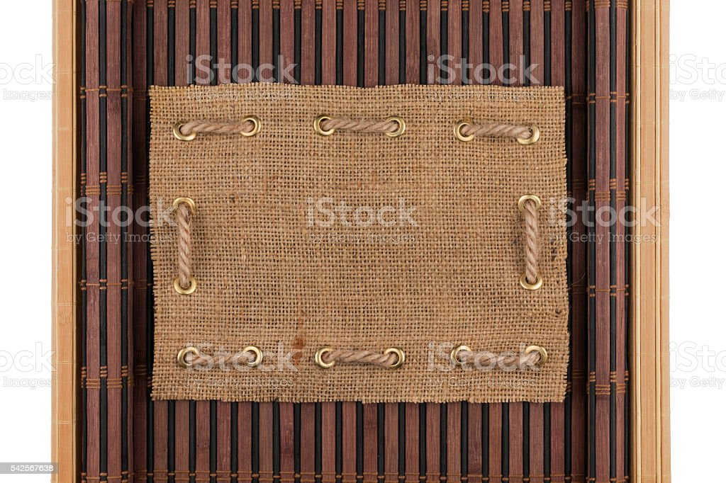Frame made of burlap in the form of manuscript stock photo