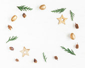 istock Frame made of christmas decoration, cypress branches, pine cones 636423700