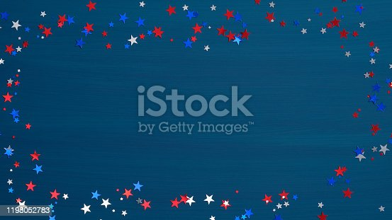 istock Frame made of confetti stars ob blue background. Happy Presidents Day banner mockup, Independence day greeting card template. American national holidays concept. 1198052783