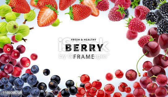 827935944 istock photo Frame made of different berries isolated on white background 1169096206