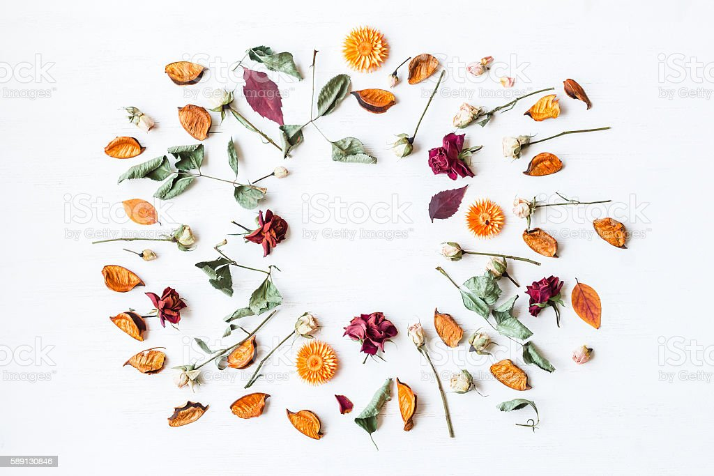 frame made of dried flowers and autumn leaves, flat lay - Photo