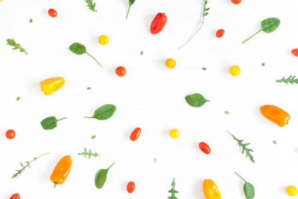 Frame made of fresh vegetables on white background. Flat lay stock photo