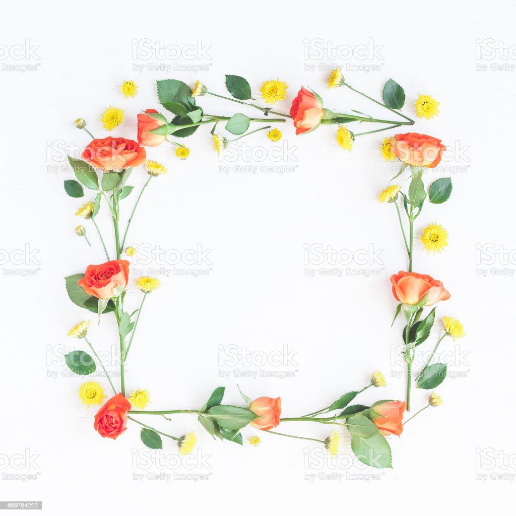 Frame made of orange rose flowers on white background - foto stock