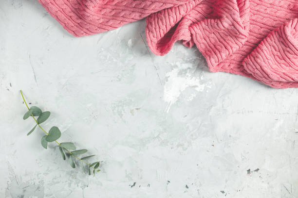 Frame made of pink blanket and eucalyptus leaves on gray concrete background. Spring concept. Flat lay, top view, copy space stock photo