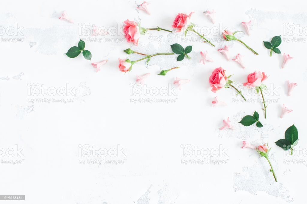 Flowers composition. Frame made of rose flowers. Valentine\'s Day....