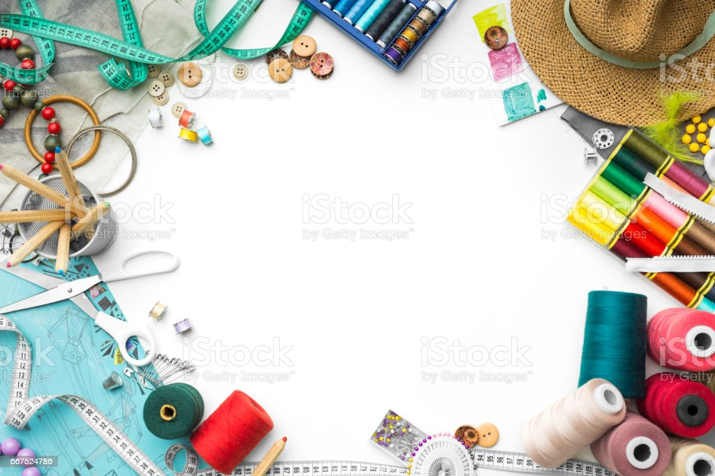 frame made of tailoring objects stock photo