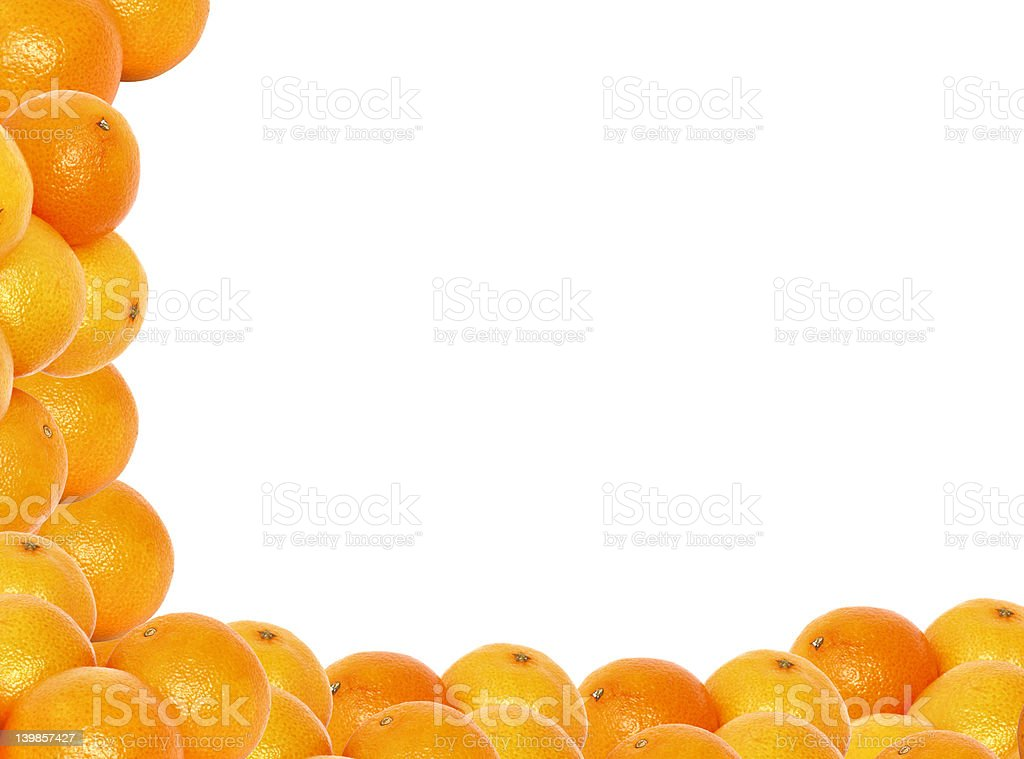 frame made of tangerines stock photo