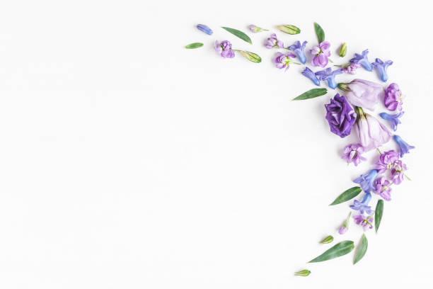 Armature faite de diverses fleurs colorées sur fond blanc - Photo