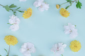 istock Frame made of various yellowand white  flowers on  blue  background 1056796706