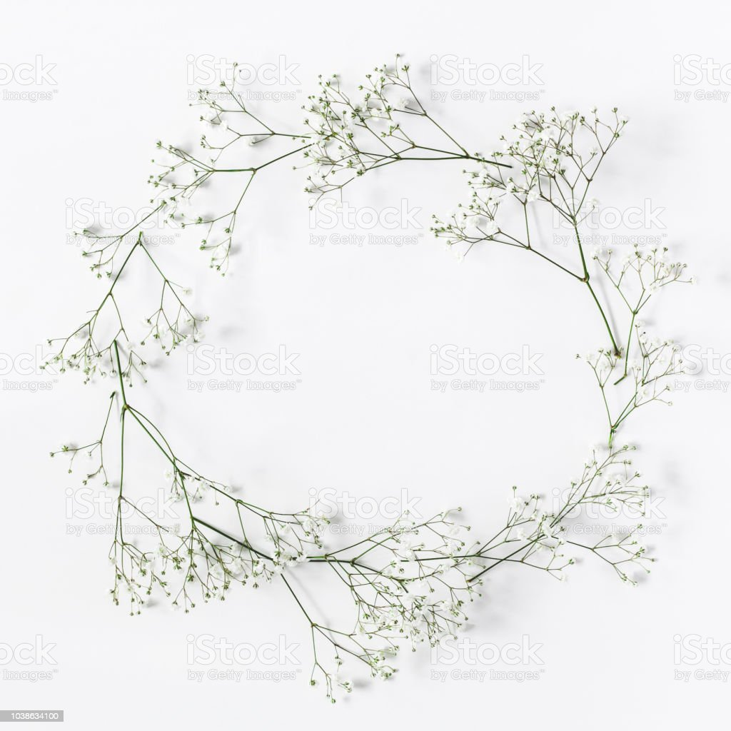 Frame made of white flowers on white background. Flat lay, top view, copy space, square stock photo