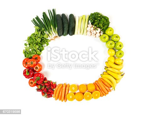 istock Frame made out of fruits and vegetables isolated on white background 670319598