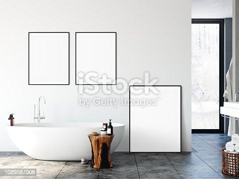 istock Frame mockup. Bathroom interior. Wall mockup. Wall art. 3d rendering, 3d illustration. 1089587008