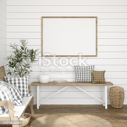 istock Frame mockup in farmhouse living room interior 1221840355