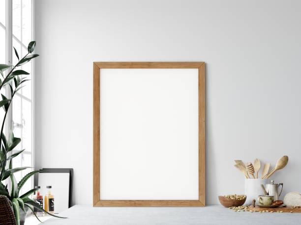 Frame-Mock-up. Küche Interieur. Wand-Mock-up. Wandkunst. 3D Rendering, 3d Illustration. – Foto